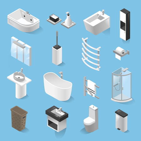 Vector set of bathroom elements isolated from background. Isometric collection of bathroom icons. Modern realistic design illustrations of sink, bidet, mirror, shower cabin, closet, toilet, soap dish
