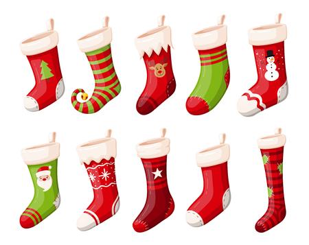 Weihnachtsstrümpfe Vektor-Set vom Hintergrund isoliert. Verschiedene traditionelle bunte und verzierte Feiertagsstrümpfe oder Sockenkollektion. Cartoon-Design-Illustrationen.
