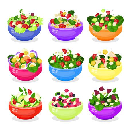 Salade in kom of schotel vector icon set geïsoleerd van achtergrond. Kleurrijke groente- of fruitsalades iconen collectie. Cartoon stijl illustraties.