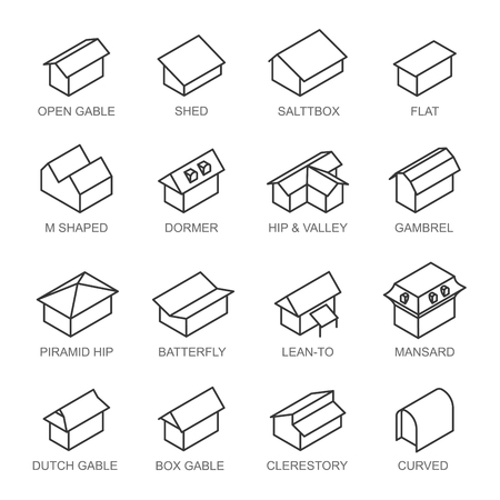 Types of roofs icons vector set isolated from background. Various roof types in outlines. Collection in black and white colors with types names or titles. Vector Illustration