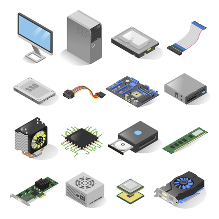 Computer parts isometric set. Inside the computer case hardware elements, hard disk drive, motherboard, video card components Illustration