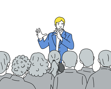 Man speaks to the audience. Young professional speaker before people at presentation or meeting. Vector illustration on white background Vettoriali