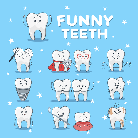 Funny teeth icon set. Dental cute characters, face of laughter and amusement, humorous stomatology. Vector flat style cartoon illustration isolated on blue background