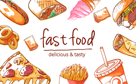 Fast food background. Street meal to eat quickly or at inexpensive restaurant, hand drawn delicious and tasty menu. Vector illustration on white background