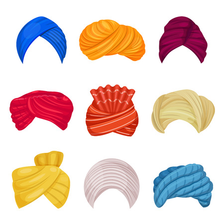 Indian and arabic turban. Head covering worn by Muslims, different types and colors. Vector illustration on white background Vektorové ilustrace