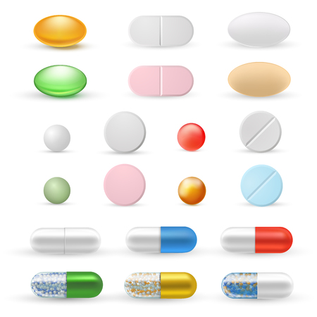 Tablets and pills realistic set vector illustration on white background Vettoriali