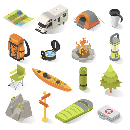 Camping and travel isometric elements. Outdoor activity withovernight stays away from home in a shelter. Vector illustration on white background Stockfoto - 110375556