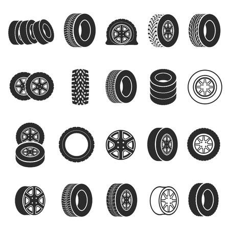 Set di icone di pneumatici e ruote. Anelli neri, fasce di gomma da fissare sotto un veicolo. Illustrazione vettoriale su sfondo bianco