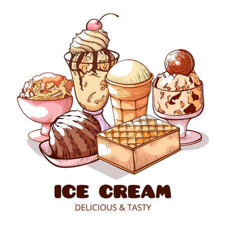 甜冰淇淋海报。冻软,奶油不同类型的喜悦,美丽的海报为社交媒体,博客,或广告