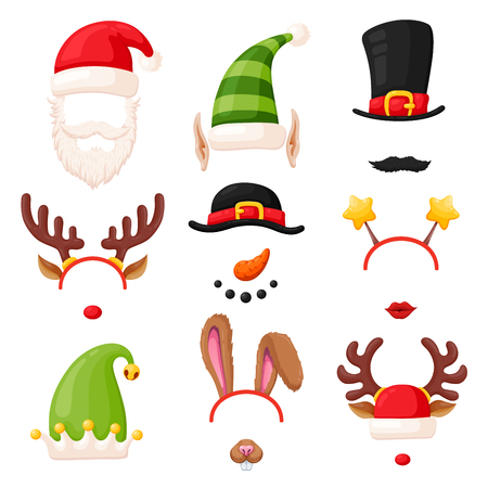 Christmas photo booth mask set. Funny decor for pictures in vending machine or modern kiosk. Vector flat style cartoon illustration isolated on white background