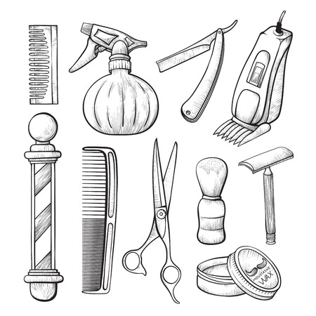 Babershop sketch tools set. Barber essential equipment collection, hair clippers, shears, razors. Vector line art illustration