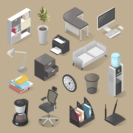 Office room furniture icon set, isometric style Stock Illustratie