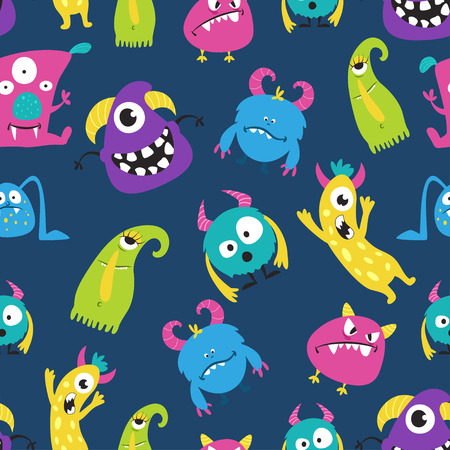 Cute funny monster seamless pattern on blue. Collection of little emotional spooky creatures. Vector flat style cartoon illustration