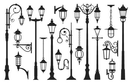 Old street lamp black silhouette, city vintage. Light pole, lamppost urban elegant collection. Vector illustration isolated on white background Illusztráció