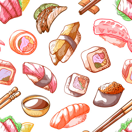 Sushi food seamless pattern on white background. Japanese cuisine, dish of rice with sweet vinegar, oriental style decoration. Vector illustration