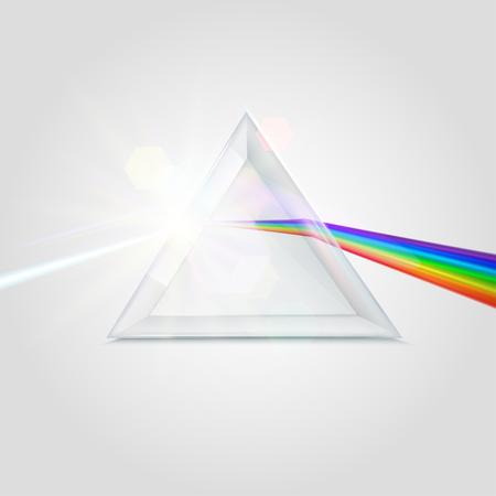 Imagen de prisma de espectro. Elemento óptico transparente, prisma triangular que dispersa un haz de luz blanca, longitudes de onda de arco iris