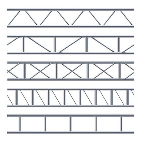Reticolo senza giunte della trave reticolare in acciaio su bianco. Costruzione utilizzata per ponti a lunga campata, decorazione industriale. Illustrazione vettoriale su sfondo bianco