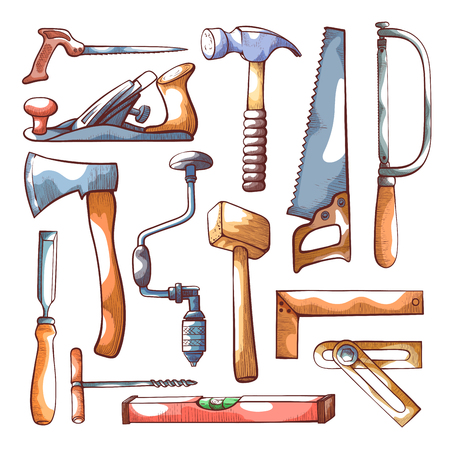 Carpentry tools hand drawn set on white. Hand woodworking and carving tools craftsman equipment collection drawing. Vector illustration Vetores