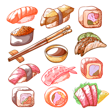 Sushi and rolls hand drawn food set. Seafood and assortment of raw fish food, delicious Japanese delicacies collection. Vector illustration on white background
