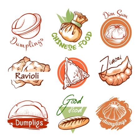 Logo du restaurant oriental Dumplings et emblème graphique. Petites boules de pâte salées, cuites à l'ébullition ou à la vapeur. Illustration d'art de ligne vectorielle isolée sur fond blanc