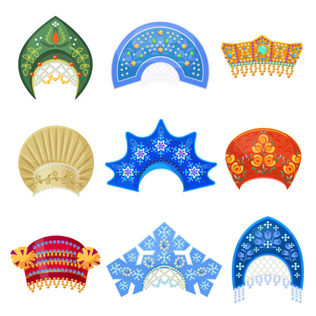 Russian kokoshnik traditional hat with ornament set. Russian headdress for women. Vector flat style cartoon illustration isolated on white background Illustration
