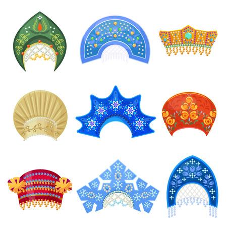 Russian kokoshnik traditional hat with ornament set. Russian headdress for women. Vector flat style cartoon illustration isolated on white background Illustration