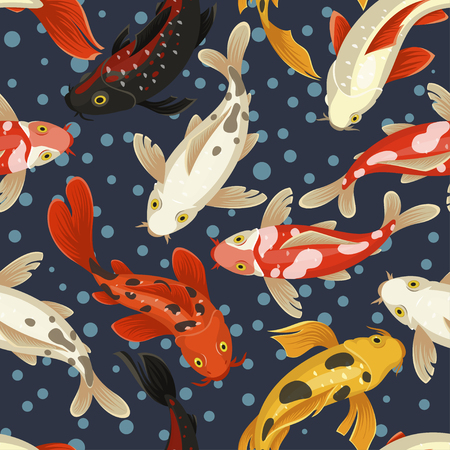 Koi carp pattern, japan style traditional design. Decorative fish in outdoor koi ponds or water garden. Vector illustration