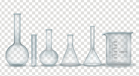 Realistic laboratory chemical and medical glassware set. Scientific experiments tubes made from glass. Vector illustration