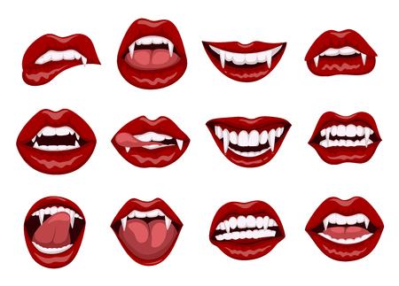 Labios de vampiro rojo femenino con colmillos de mordedura Ilustración de vector