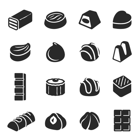 Chocolate candy confectionery assortment black icon set. Sweets or lollies, delicious confection stmbol. Vector line art illustration isolated on white background Ilustração
