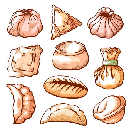 Dumpling, traditional chinese food hand drawn set. Small savoury balls of dough with meat. Vector illustration on white background