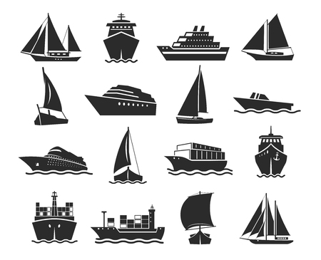 Ship and marine boat black silhouette set. Small and large seagoing vessels. Vector line art illustration on white background Ilustracja