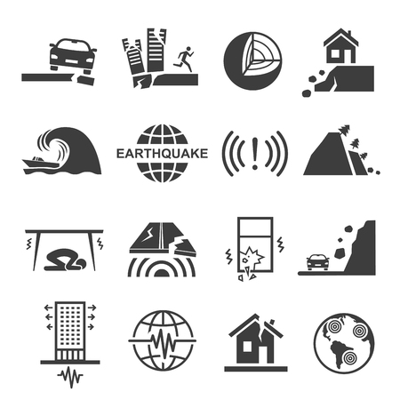 Earthquake tsunami disaster and destruction black icon set