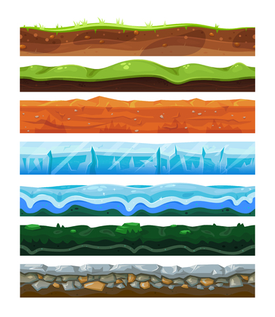 Seamless land horizontal layers set, geology and environment concept Illustration
