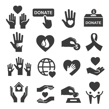 Charity donation and help symbol icon set