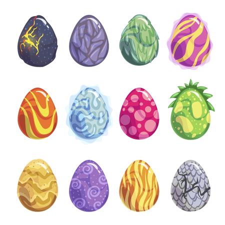 Eggs of fantasy dragon or dinosaur bright set Illustration