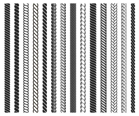 Cadre de brosses en corde, ensemble de lignes noires décoratives. Cordon épais ou éléments en fil. Illustration de dessin animé de style plat vecteur isolé sur fond blanc Vecteurs
