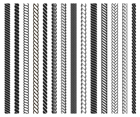 Rope brushes frame, decorative black line set. Thick cord or wire elements. Vector flat style cartoon illustration isolated on white background