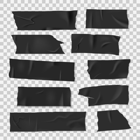 Insulating adhesive sticky black tape, realistic style set Archivio Fotografico - 115456763