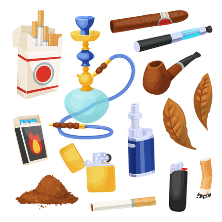 Cigarette and tobacco icon set, smoke product. Tobacco supplies store design elements. Vector illustration on white background