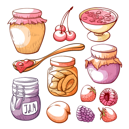 Fruit and berry jam hand drawn set. Tasty confiture in glass jar, summer preserves. Vector illustration on white background Ilustrace