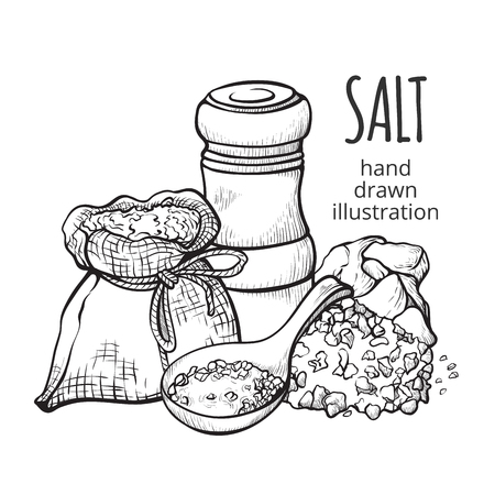 Salt in a sack hand drawn set. Natural ingredient used for seasoning or preserving food. Vector illustration on white background