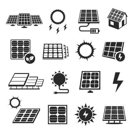 Solar panels technology, black and white icon set. Devices that convert light into electricity. Vector illustration on white background Иллюстрация