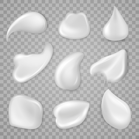 Cosmetic cream smear for application to the skin. Pharmaceutical products macro elements. Vector realistic style illustration