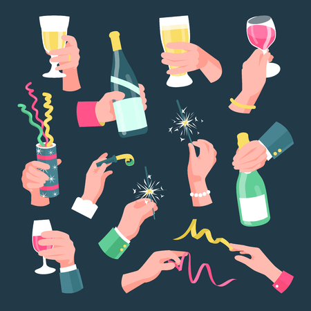 Hands holding holiday and festive objects on party. People cheers and have fun. Vector flat style cartoon illustration isolated on black background Иллюстрация