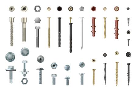Realistyczny zestaw śrub i wkrętów, elementy warsztatowe i naprawcze. Element do naprawy łączników z łbem. Ilustracja wektorowa na białym tle Ilustracje wektorowe