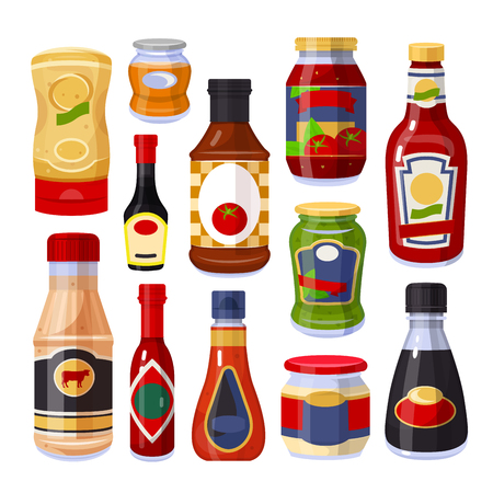 Sauces and spices, ketchup in bottles set. Ingredient used for flavoring, coloring or preserving food. Vector flat style cartoon illustration isolated on white background