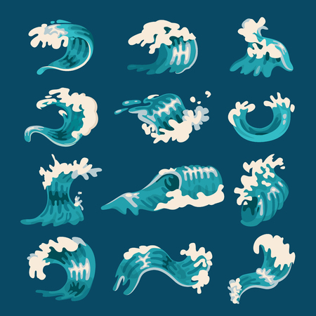 Ocean wave set, splash and marine elements. Water in move in a swaying motion. Vector flat style cartoon illustration isolated on blue background