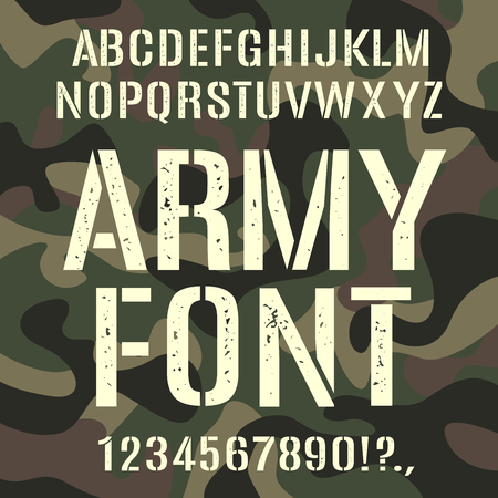 Military and army font, camouflage rough pattern. Assortment, set of type, letter and number characters. Vector illustration