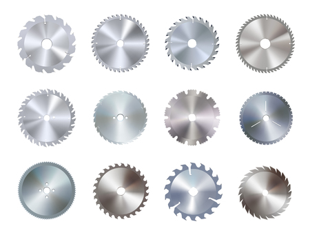 Circular disk equipment and sharp saw blades. Round iron tool, industrial circle device. Vector illustration on white background